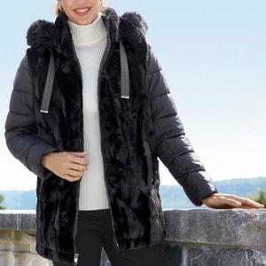 Chadwicks Womens Black Faux-Fur Puffer Coat XL